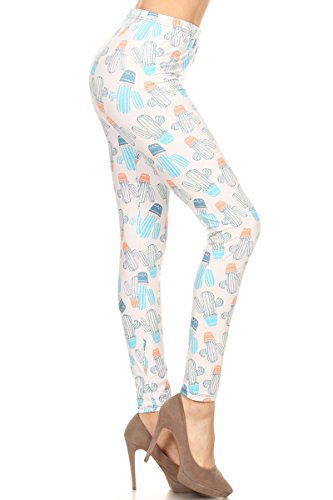 's Ultra Soft Printed Fashion Leggings BAT18 (Loaded Cactus, Plus Size (L-2X / Size 12-20)) ()