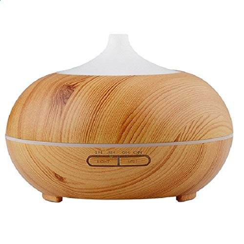 300ml Oil Diffuser Wood Grain Ultrasonic Cool Mist Humidifier for Office Home Bedroom Living Room Study Yoga Spa,Light Wood,United States,US