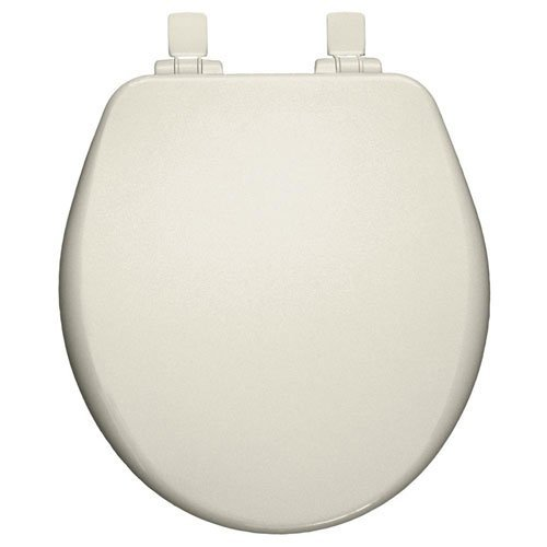 Bemis 9170PLSL 346 Round Closed Front High Density Molded Wood Toilet Seat with Plastic Whisper Close Hinges, Biscuit