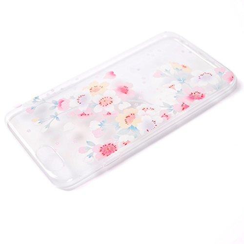 iPhone 5 Case,iPhone 5S Case ZHOUZEKAI Transparente Funda de Silicona Suave Case Cover Protección cáscara Soft Gel TPU Carcasa Funda para Apple iPhone 5/iPhone 5S-Dream Rose Sakura