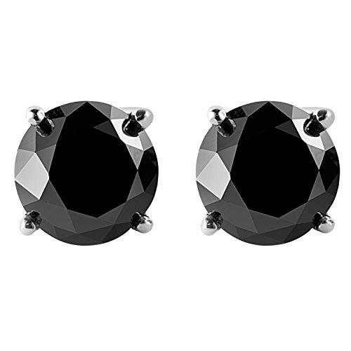 31/4Stud Boucles d'oreilles en or blanc 14carats avec diamant solitaire rond noir à vis arrière