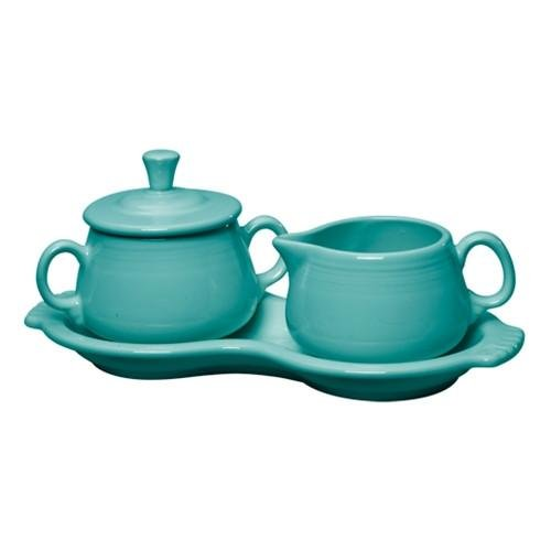 3 Piece Fiesta Sugar & Creamer Set Color: Turquoise