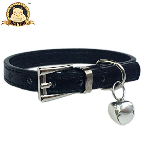 CatYou Small Jingle Bell Leather Pet Collar for Cats Baby Puppies Dogs, Adjustable 8.5