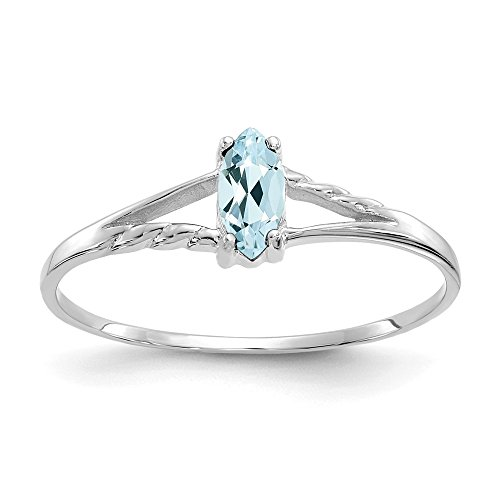 (14k White Gold Blue Aquamarine Birthstone Band Ring Size 7.00 March Marquise Fine Jewelry Gifts For Women For Her)