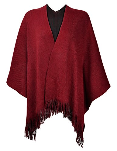 ZLYC Women's Reversible Winter Knitted Faux Cashmere Fringe Poncho Capes Shawl Blanket Wrap Sweater Coat (Red)