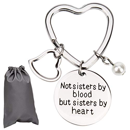 AIEX Best Friends Gifts Keychain Friendship Gifts for Women, Friends, Girls Stainless Steel Keychain with Heart Key Ring,a Little Pearl and a Gift Bag (Things To Get Your Sister For Her Birthday)
