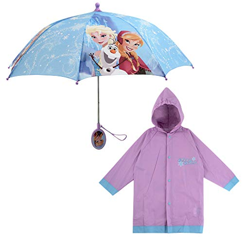 Disney Little Girls Frozen or Minnie Mouse Slicker and Umbrella Rainwear Set