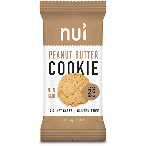 Nui Peanut Butter Cookies   Keto Snacks  Low Carb  Low Sugar  4G Net Carbs  Gluten Free   8 Pack  16 Cookies