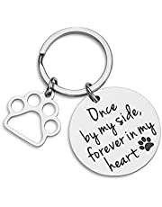 NUBARKO Loss of Pet Memorial Keychain Pet Remembrance Jewelry Dog Cat Sympathy Gift Dog Remembrance for Women Men Once by My Side Forever in My Heart Key Ring