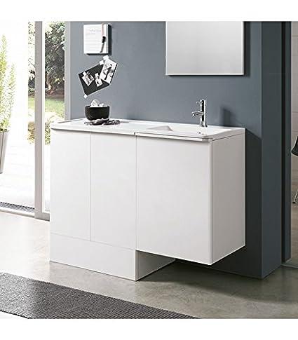 Geromin Arredamenti Rn14db Lavatoio E Base Coprilavatrice Bianco