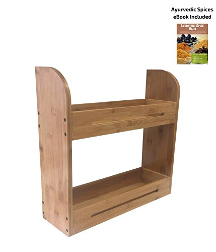 Wood Rack Extra Large (Large Bamboo Spice Rack Stand Two Tiered Wooden Shelf Organizer For Counter Top and Wall Mounted Use | 4 Inch Deep Shelves Fits All Big Sized Bottles Of Spices | Ayurvedic Herbs eBook Included)