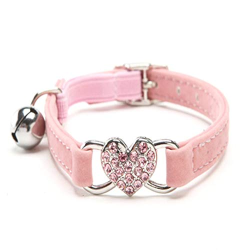 EraseSIZE Cute Crystal Elastic Dog Collar Velvet Bell Heart Shape Pet Necklacce with Leather Bow Necklace Adjustable Scent Floral Collection Regular, Seatbelts for Small Large Dog (Pink)