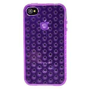 ZCL DEVIA Solid Color 3D Bubble Pattern TPU Soft Case for iPhone 4/4S (Optional Colors) , Purple