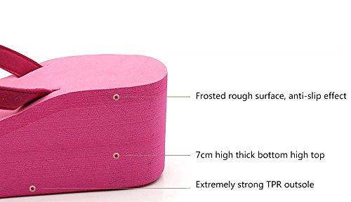 De Mujer De Zapatillas De Rosa Pink Tacón De 40 Tacones Playa Chanclas Alto Cuña F5q5nwdg
