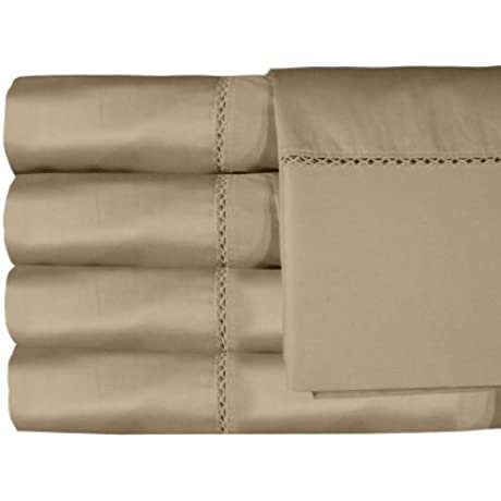 Veratex The Bella Sheet Collection 100 Egyptian Cotton Sateen 800 Thread Count Queen Size Sheet Set With Elegant Stitch Hem Design Ivory