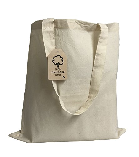 Set of 6 - Organic Cotton Canvas Tote Bags 15