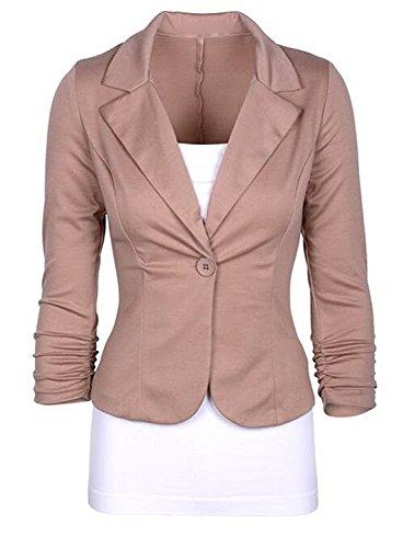 Ming ditian Popular Women's Casual Work One Button Slim Fit Blazer Jacket Coat Khaki - Code Delivery John Lewis