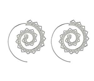 ShungHO Spiral Earring Vintage Bohemian Spiral Earring Circles Round Tribal Ethnic Earrings,Silver
