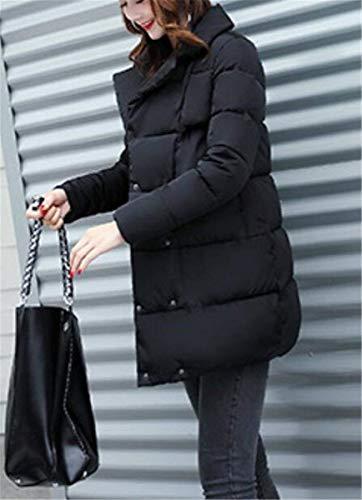 Tasche Donna Schwarz Giacche Festivo Vintage Giacca Piumino Manica Autunno Chiusura Bottoni Outerwear Cappotto Trapuntata Trapuntato Giovane Lunga Colore Puro Invernali Anaisy Con Tdq1wd