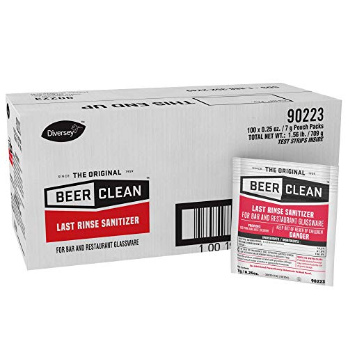 Diversey Beer Clean Last Rinse Glass Sanitizer, .25oz Powder Packet (100 Pack) (0.25 Ounce Bar)