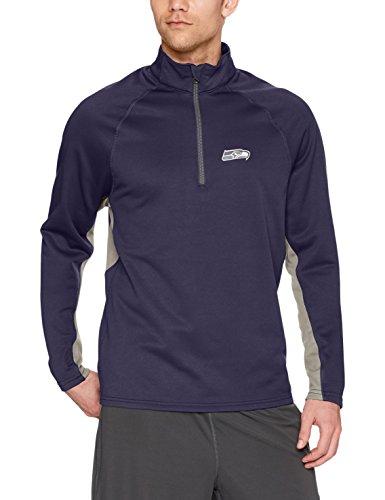 NFL Seattle Seahawks Men's OTS Poly Fleece 1/4-Zip Pullover, Logo, Medium