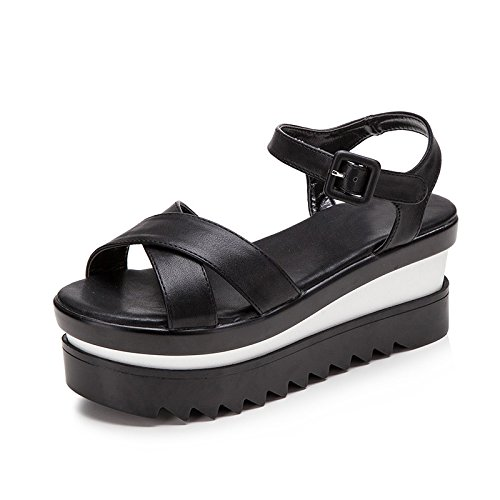 Xing Lin Leather Sandals Sandals Women Summer New Sponge Cake Shoes At The End Of Thick Heels Casual Fashion Sandals Black cdEbswYBi0