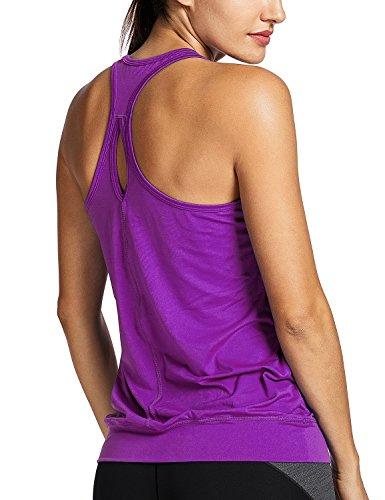 SYROKAN Women's Active Racerback Athletic Sports T-Shirt Long Yoga Crop Tank Top Purple XL(14)