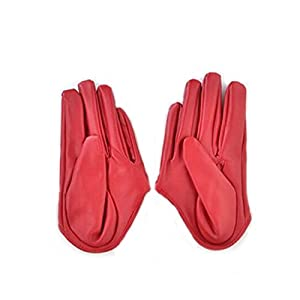 Yingniao Womens Faux Leather Five Finger Half Palm Driving Party Gloves Mittens
