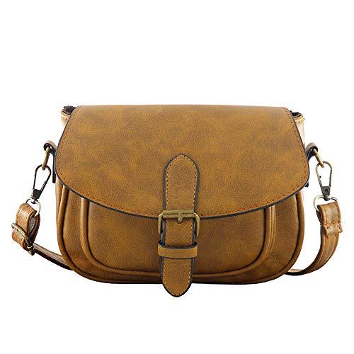 (Women Small Vintage Satchel Crossbody Bag PU Leather Saddle Shoulder Purse Handbag (Light Brown))