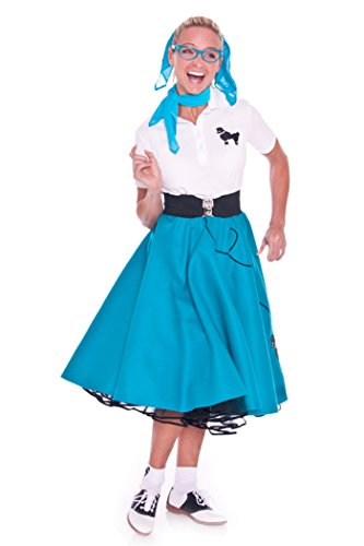 Hip Hop 50s Shop Adult 7 Piece Poodle Skirt Costume Set Teal Medium by Hip Hop 50s Shop (Image #2)