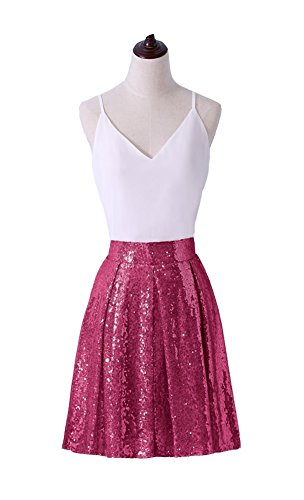 Irenwedding Women's Princess Zipper Colored Sequins Pleated Midi Flared Short Cocktail Skirts Rose Red M