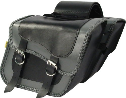 Dowco Willie & Max 58705-20 Thunder Series: Synthetic Leather Standard Slant Motorcycle Saddlebag Set, Black and Grey, Universal Fit, 10 Liter Each/20 Liter Total Capacity