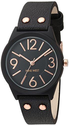 Nine West Women's NW/1932BKRG Matte Black Rubberized Bracelet Watch