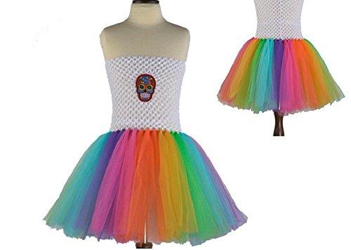 White Rainbow Sugar Skull Tutu Dress Costume from Chunks of Charm (24 Months)]()