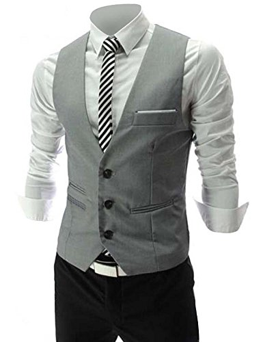 Zicac Mens Top Designed Casual Slim Fit Skinny dress Vest Waistcoat (Mens Vest)