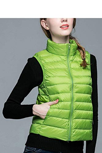 Zipper Fashion Winter Coat Collar Cozy Green Color Elegant Stand with Coats Vest Fit Pockets Down Jacket Women Solid Front Sleeveless Vest Slim Pingrog 7FXwHw