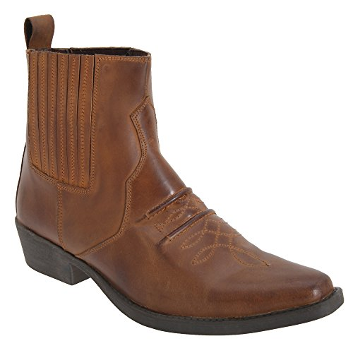 Gringos Mens Distressed Leather Gusset Western Ankle Boots (7 US) (Brown) ()