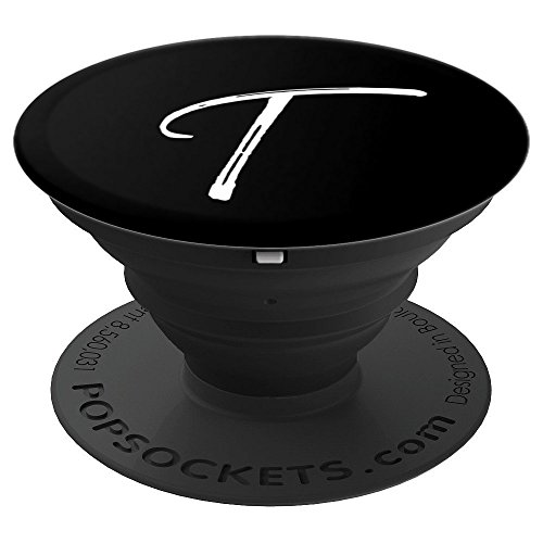 Letter T PopSocket Grip T Initial Monogram Style White Black - PopSockets Grip and Stand for Phones and Tablets