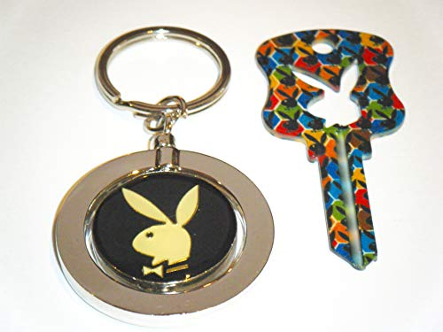 Playboy BUNNY Key Kwikset KW1 Uncut Blank Mosaic Bunny House Key With Playboy Key Chain