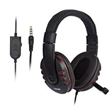 Gaming Headset - LESHP 3.5mm Wired Over-head Stereo Gaming Headset Headphones Earphones Earbuds with Mic Microphone, Volume Control for SONY PS4 PC iPhone iPad iPod Android Smartphones Laptop Tablets Computer MP3/4