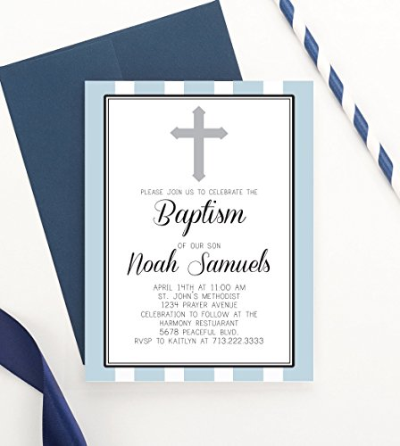 - Baptism Invitations Elegant, Christening Invitations Boys, Personalized Baptism Invitation, Custom Christening Invitation, Baptism Invitations for Boys, Your choice of Quantity and Envelope Color