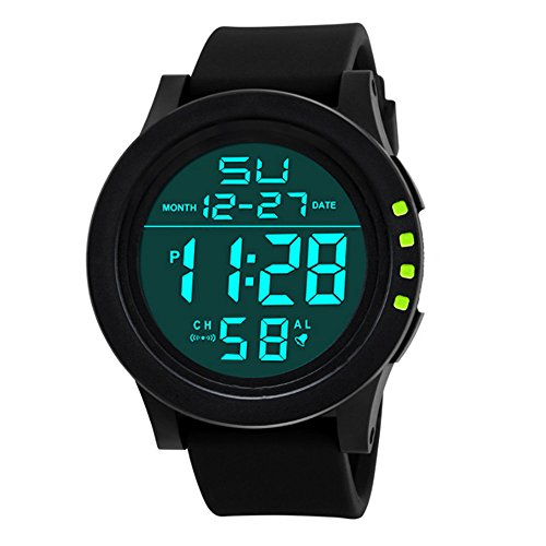 Sport Watch, 50M Waterproof Watch, Sport Wrist Watch for Men Women Kids, Digital Watch with Alarm Date and Time (Green -