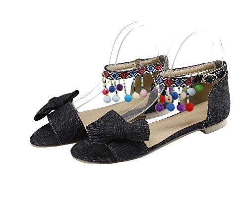 Heels Buckle Toe VogueZone009 Solid Sandals Low Black Open Women CxAqwH
