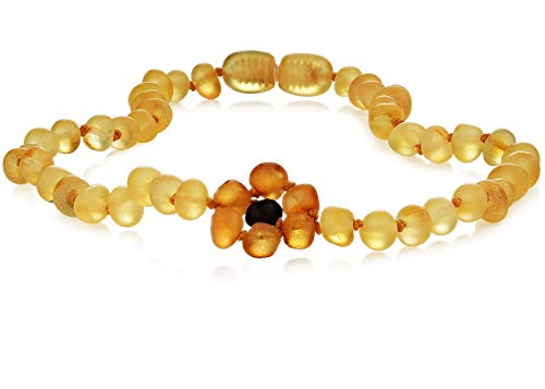 """Premium Grade Amber Teething Necklace - Hand Crafted Baltic Amber Teething Necklace in 3 Sizes - Teething Relief for Baby, Toddler, and Child! Teether Necklaces with Lemon Pendant Amber Beads (10-11"""")"""