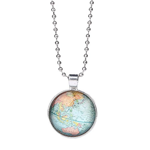 Grenf Fashion Valentine's Day Gift Antique Brass Silver Tone Retro All Kinds of Map Time Gemstone Necklace Globe Necklace World Map Time Gems Shape Pendant (Silver - B5)