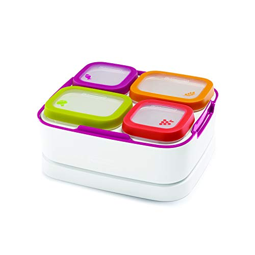Rubbermaid Balance Pre Portioned Meal Kit Food Storage Containers, White/Beet Red, 11 Piece Set including Lids Bento Box Style   Microwave and Dishwasher Safe