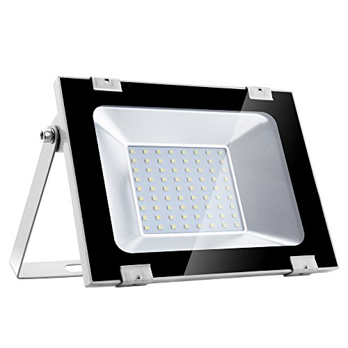 Heilsa 50W LED Flood Light with 15.8 Inch Cord, Cold White 6000-6600k, 80Lm Super Bright Security Light IP65 Waterproof Outdoor Landscape Flood Light Lamp LED Spotlight