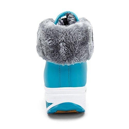 Botines Cuña Impermeable Calzado Caliente Antideslizante Deportivo Con Suela Felpa De Mujer Suave Minetom Forro Botas Invierno Azul Zapatos vwxznqZXE1