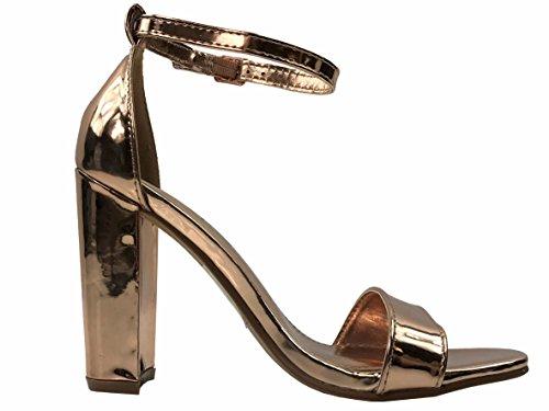Gold Heel Strappy Bella Rose High Sandal Women's Block Marie BaB8HSq
