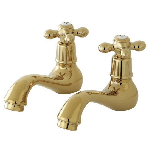"UPC 663370003240, Kingston Brass KS1102AX Heritage Basin Faucet Set, 4-3/4"" Spout Reach, Sold in Pairs, Drain Sold Separately, Polished Brass"